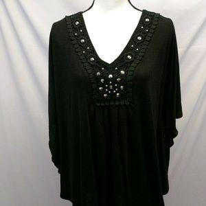 Embellished Batwing top Black Plus size 2X